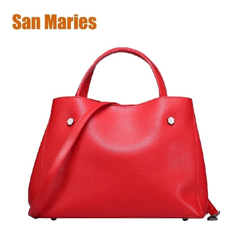 San Maries haute qualité en cuir femmes sac seau sacs à bandoulière solide grandes femmes sac à main ensemble grande capacité Feminina fourre-tout Bolsas