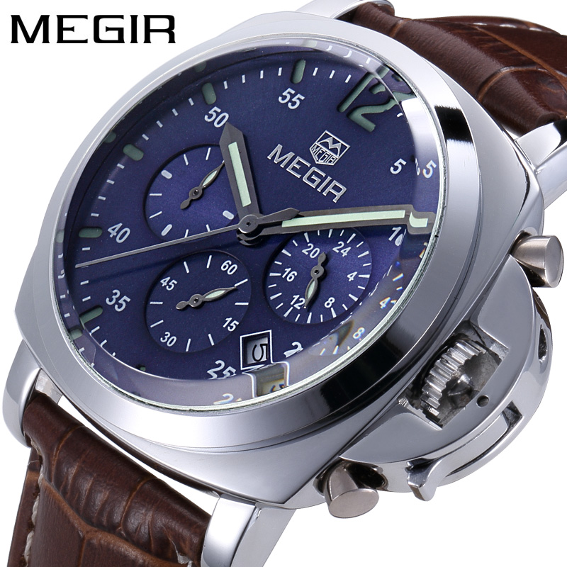 MEGIR Chronograph Mens Watches Top Luxury Brand Leather Strap Quartz Men Male Watch Military Army Sport Date Clock Gift Box 3006