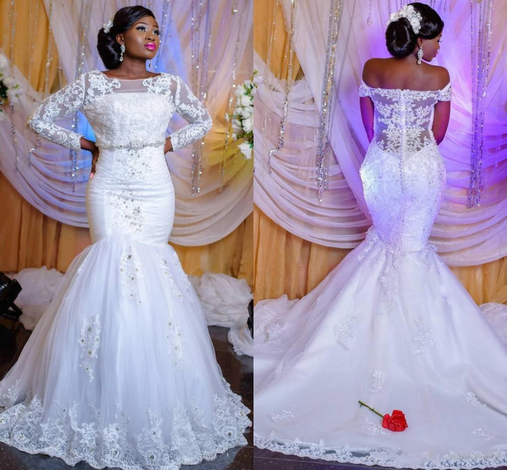 us $164.43 13% off|2019 african nigerian lace mermaid wedding dresses  applique long sleeves beads sequined wedding dress bridal wedding gowns-in