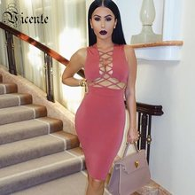 Clearance! VC 2019 Hot New Trendy Sexy Hollow Out Design Sleeveless Celebrity Party Knee Length Bandage Dress(China)