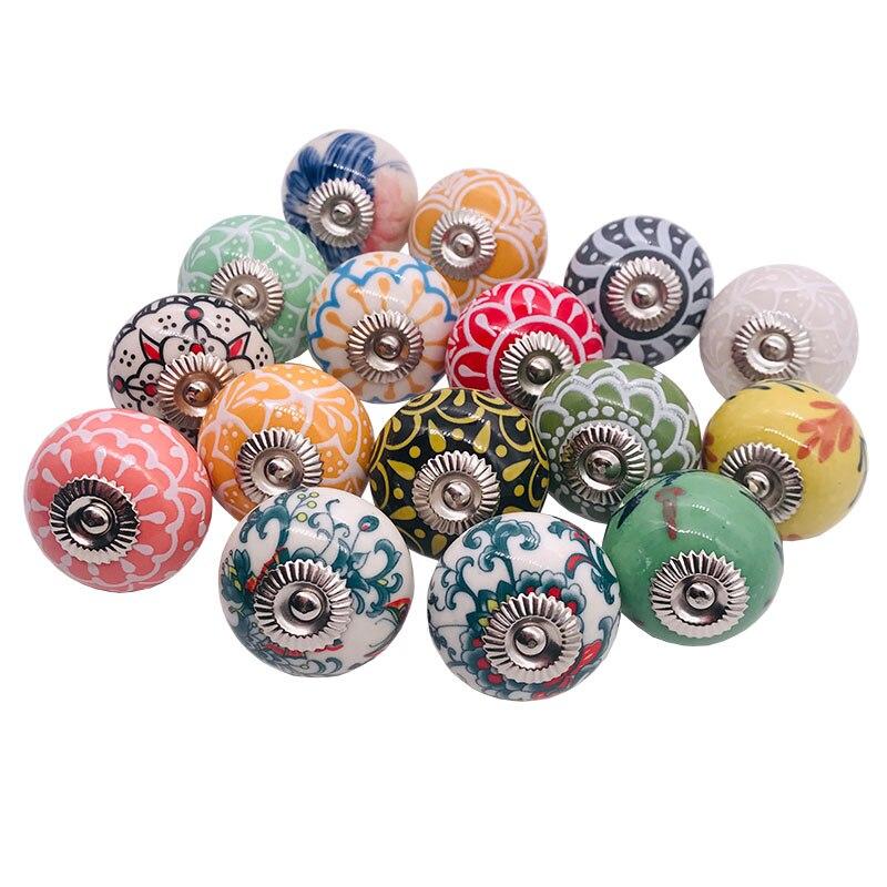 Round 38mm Marbling Ceramic Pull Handle Wardrobe Drawer Cabinet Decor Knob