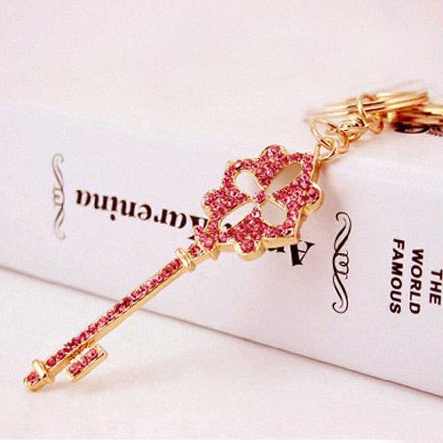 Charm pink key styling keychain High Grade Rhinestone Keyring Crystal Key Chains Ring Holder women bag Jewelry gift R220