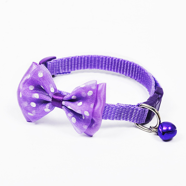Adjustable Polyester Dog Collars Pet Collars With Bowknot Bells Charm Necklace Collar For Little Dogs Cat Collars Pet Supplies 1
