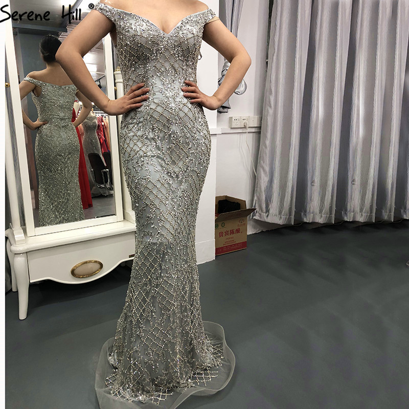 Silver Luxury Sexy Mermaid Evening Dresses 2019 Diamond  Beading Off Shoulder Evening Gowns Real Photo LA6406