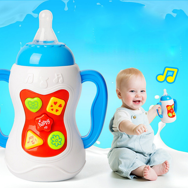 0-3 Years Baby Toys Milk Bottle With Sound And Light Educational Toys Musical Feeding Bottle Christmas Gift For New Born Babies