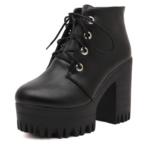 SZSGCN Brand Designers 2018 New Spring Autumn Women Shoes Black High Heels Boots Lacing Platform Ankle Boots Chunky Size 35-39