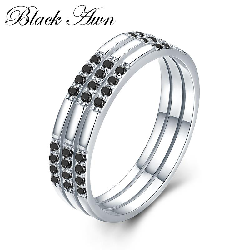 Trendy 2.7g 925 Sterling Silver Fine Jewelry Round Bague Black Spinel Engagement Rings for Women  Bijoux C474Trendy 2.7g 925 Sterling Silver Fine Jewelry Round Bague Black Spinel Engagement Rings for Women  Bijoux C474