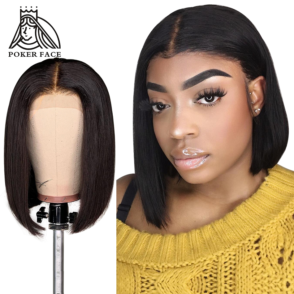 Bob Wigs Poker-Face Human-Hair Lace-Front Straight Women Short Black