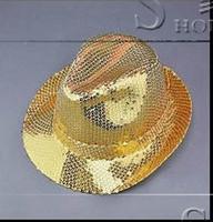 Crazy promotie! Gratis verzending singer dance stage hoeden voor mannen straat ster stijl jurk pailletten top hoed mens