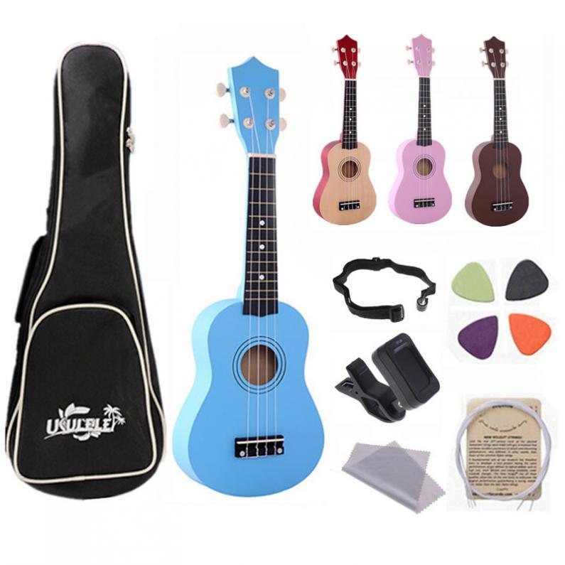 21 Inch Ukulele Children Beginners 4 Strings Uke Hawaii Guitar Bass Stringed Musical Instrument Set Kits+Tuner+String+Strap+Bag