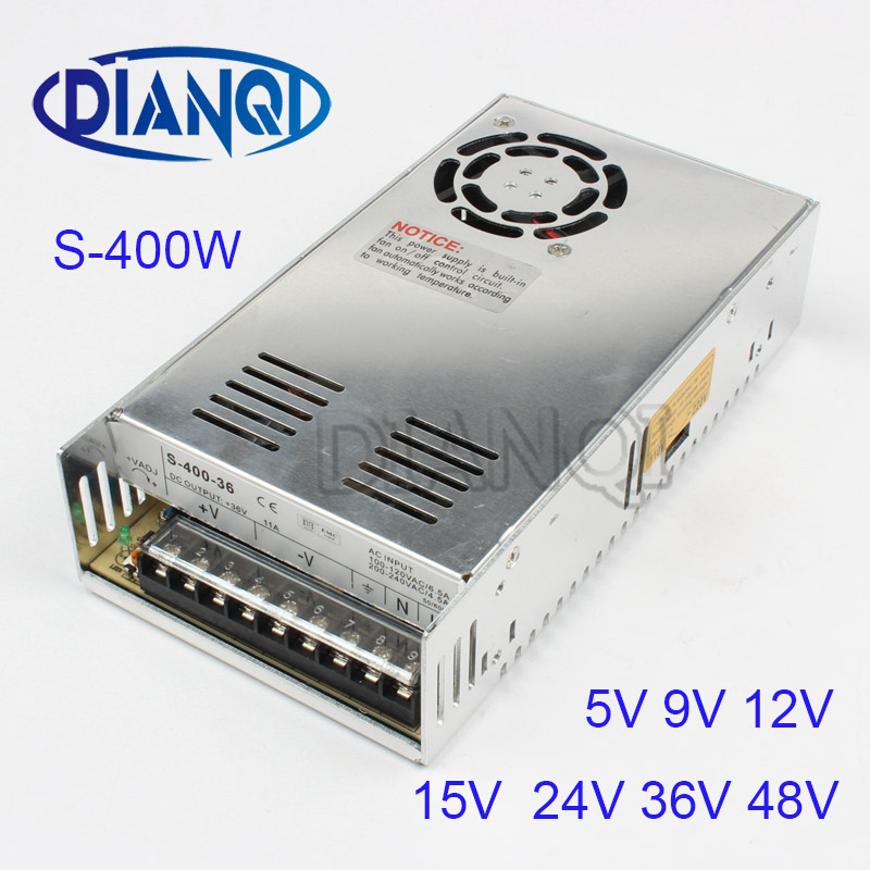 все цены на 400W 36V 11A Single Output Switching power supply High Quality AC to DC 5V 9V 12V 15V 24V 48V Power Supply S-400-36 онлайн