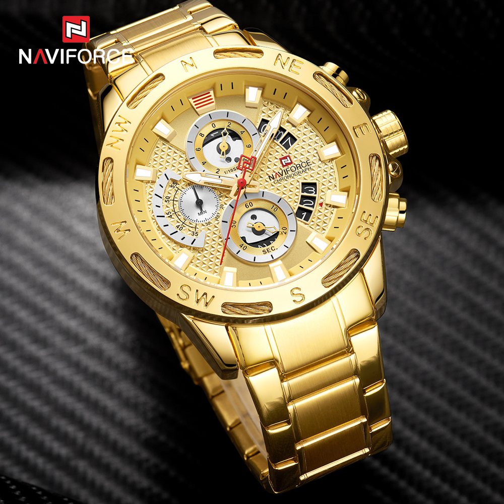 Image 3 - NAVIFORCE Men Watches Waterproof Stainless Steel Quartz Watch Male Chronograph Military Clock Wrist watch Relogio Masculino-in Quartz Watches from Watches