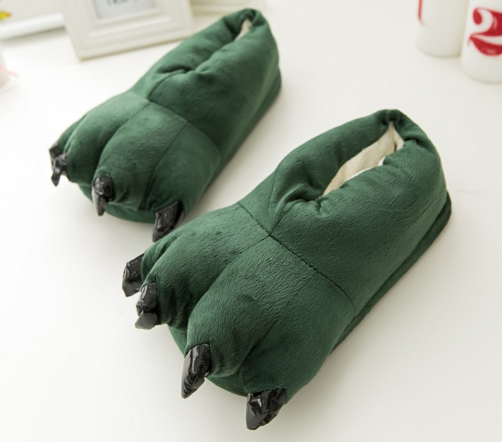 Animal Paw Dinosaur Monster Claws Slippers Winter Soft Plush Home Warm Soft Cotton Indoor Slipper For Men Women Kids Shoes lin king winter warm soft indoor floor slippers women men shoes paw funny animal soft soft plush shoes high quality home shoes