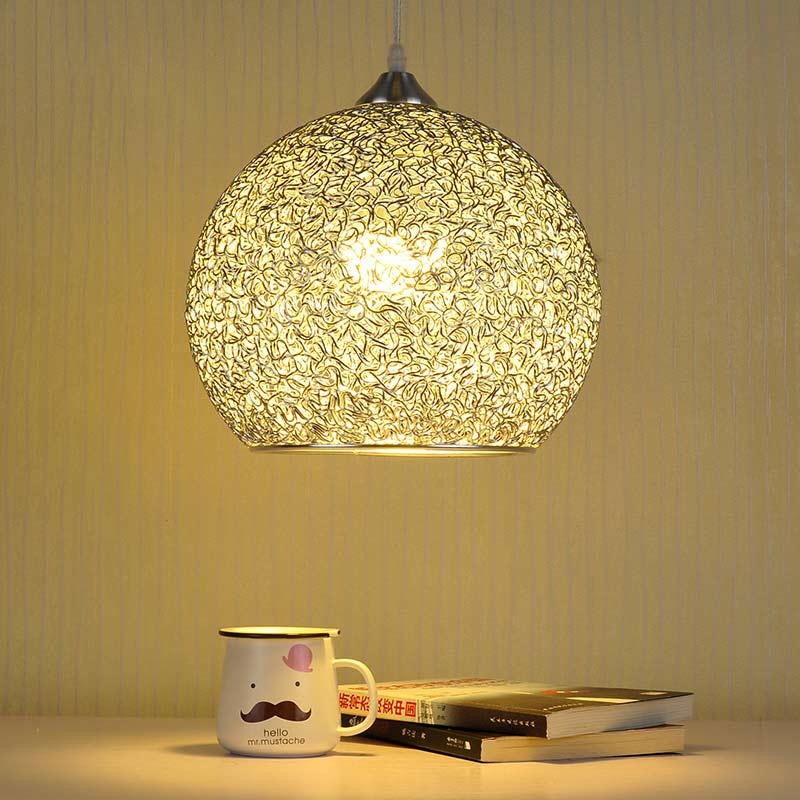 Modern Pendant Light Dining Room Restaurant Kitchen Lamp Silver Aluminum Lampshade Decoration Home Fixture E27 110-220V black iron lampshade abajur diameter 38cm big home light dining room kitchen pendant light pendant lamp e27 e26 bulb fitting