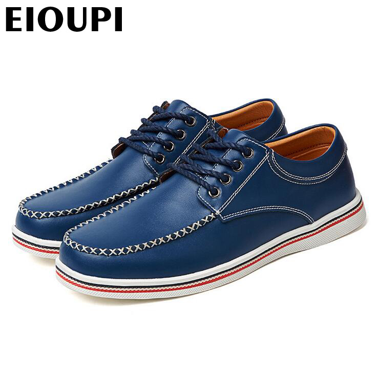 EIOUPI top quality new design genuine real cow leather mens fashion business casual shoe breathable men shoes lh2269 new british style real top cow leather boots qshoes mens business dress casual fashion men personalized round toe boot y97 663