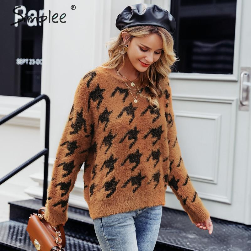 Simplee Houndstooth Patchwork Knitted Mohair Sweater Women Winter Casual Soft Sweaters Female Pullovers O-neck Lady Sweater 2019