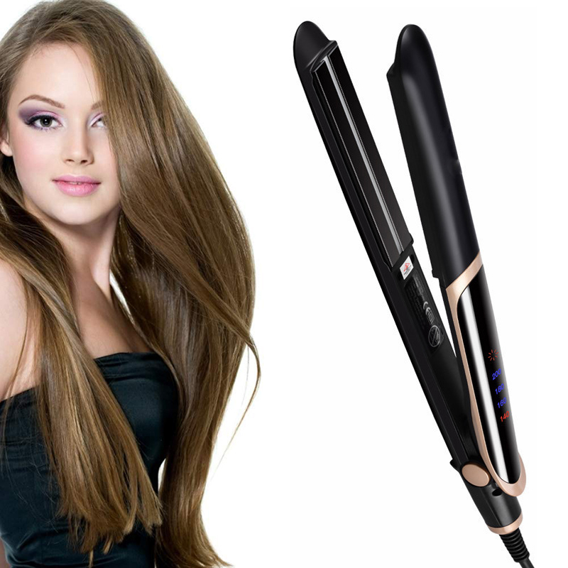 LED Infrared Hair Straightener Curler Hair Flat Iron Negative Ion Hair Straighting Curling Iron Corrugation Styling Tool