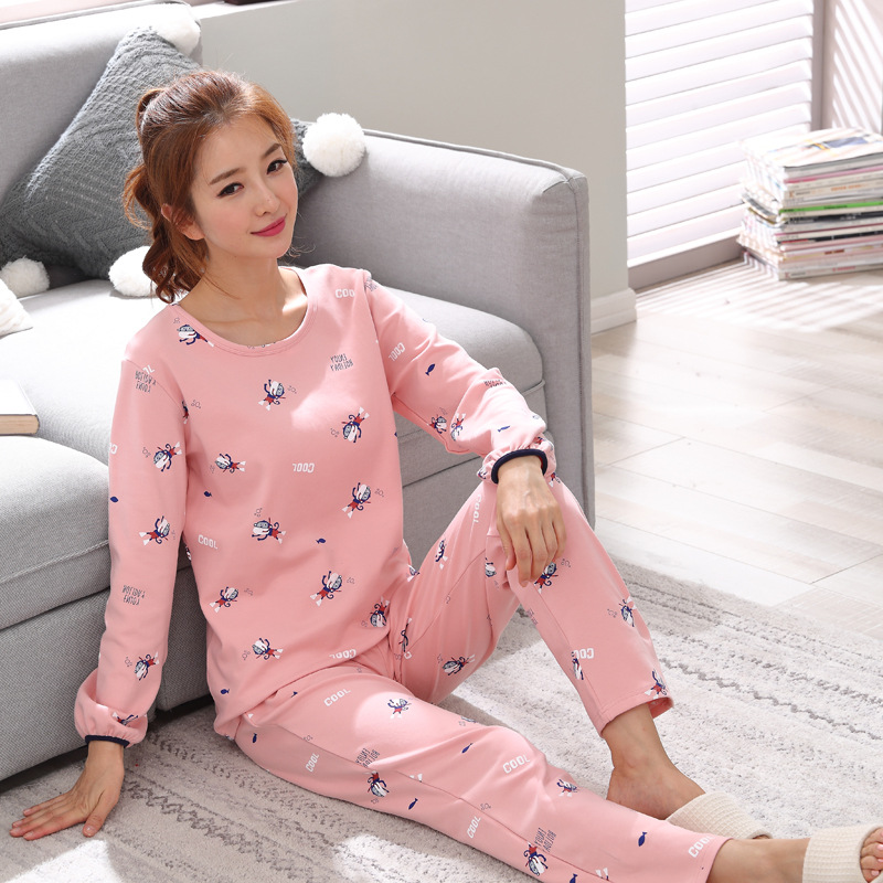 2019 Women Pajamas Sets Autumn Winter New Women Pyjamas Cotton Clothing Long Tops Set Female Pyjamas Sets NightSuit Mother Sleep 105