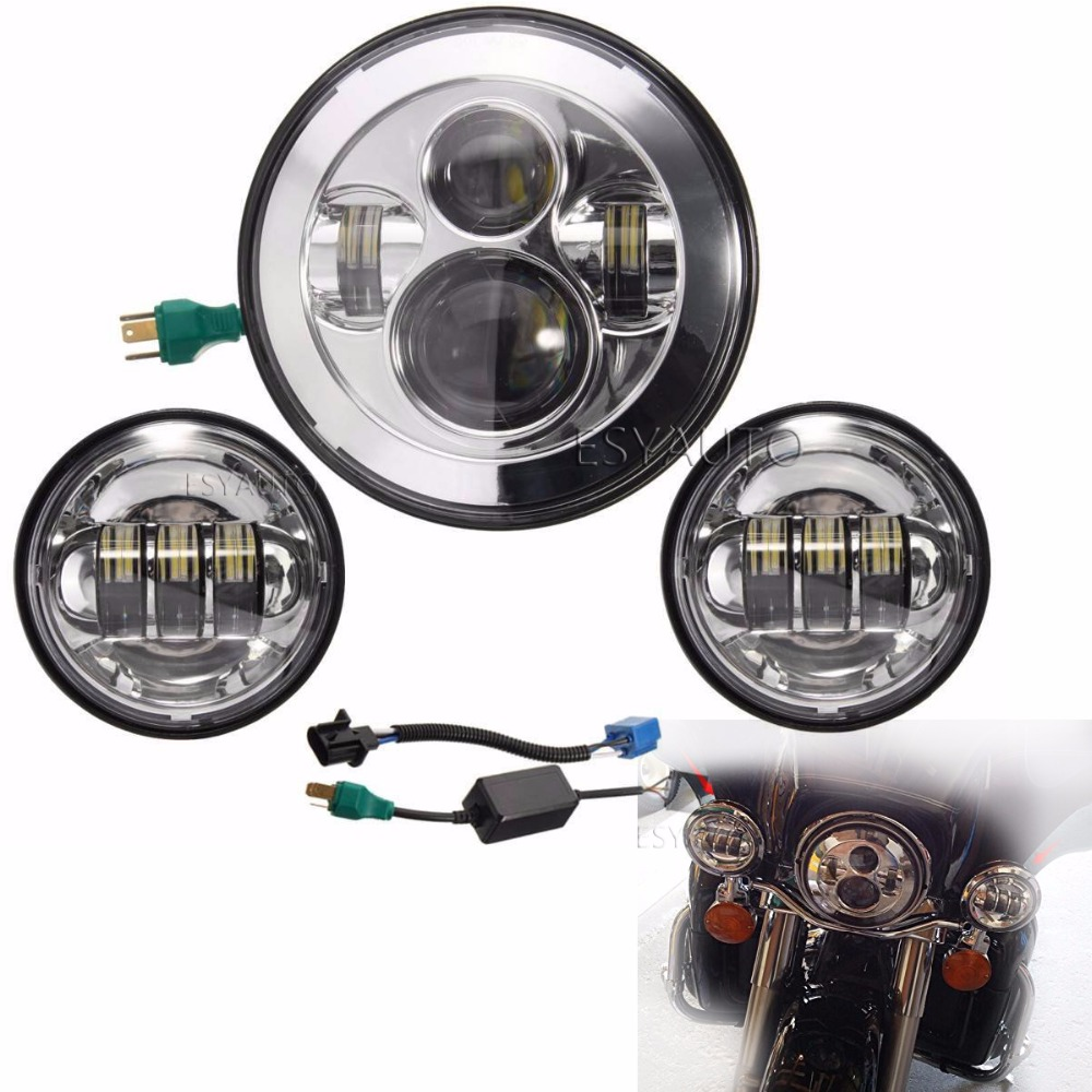 1set Silver 7 Inch 40w Chrome LED Headlight+ 2x 4.5 30w LED Fog Light Passing Lamps for Harley Davidson Motorcycle harley motorcycle 7 inch orange motorcycle headlight 4 5 fog daymaker hid led light bulb headlight for harley davidson