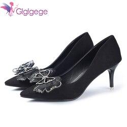 Glglgege мода Diamond туфли-лодочки с острым носком пикантные женские туфли на платформе кружевная обувь на тонком высоком каблуке ботильоны женск...
