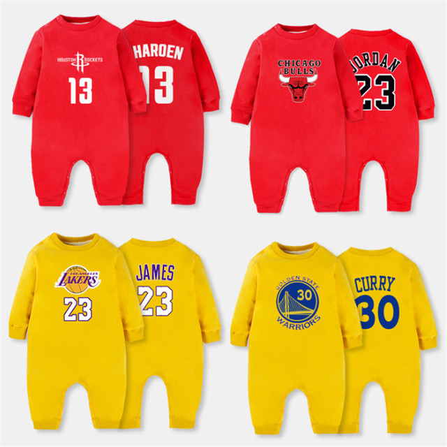 de5ea1263c4b15 2018 Baby Winter Clothes Plus Velvet Basketball Long Sleeve Romper Baby  Sport Clothes Jumpsuit Short Baby 0-24month Clothing