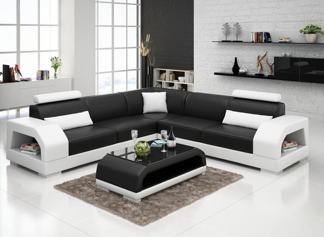 l shaped living room furniture new design modern sectional living room leather sofa 18973