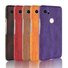 For Google Pixel 2 XL Case Hard PC+PU Leather Retro wood grain Phone 2XL Cover Luxury Wood Pixel2