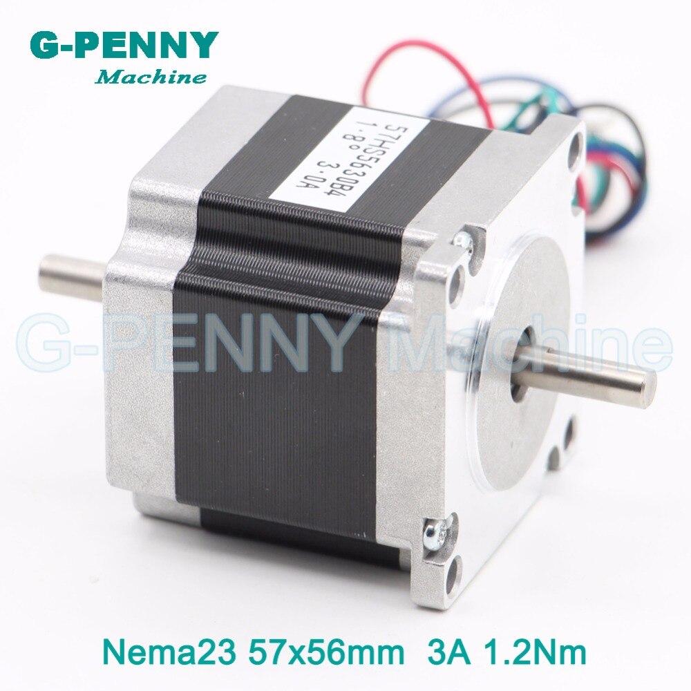 NEMA 23 CNC Stepper Motor 57x56 nema23 step motor 3A 1.2N.m double shaft 6.35/8mm 172Oz-in for CNC engraving machine 3D printer