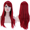 "1Pcs 23"" 60cm  Long Straight Fringe Bangs Full Head Wig Dark Red TW073"
