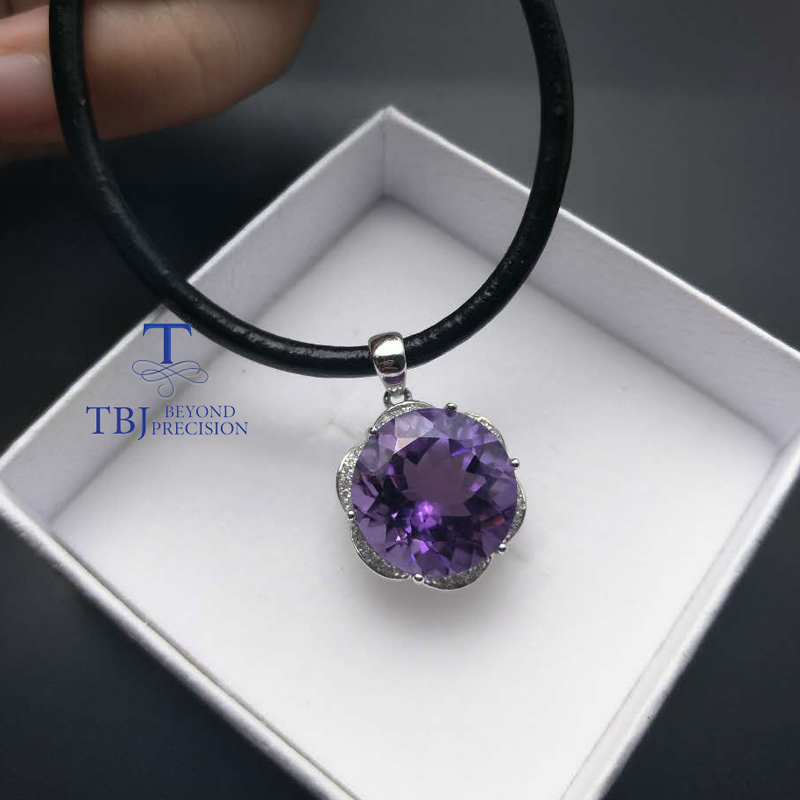TBJ,100% Natural Brazil top color  amethyst  pendant with chains necklace,10.9ct amethyst simple pendant for girls with gift boxTBJ,100% Natural Brazil top color  amethyst  pendant with chains necklace,10.9ct amethyst simple pendant for girls with gift box