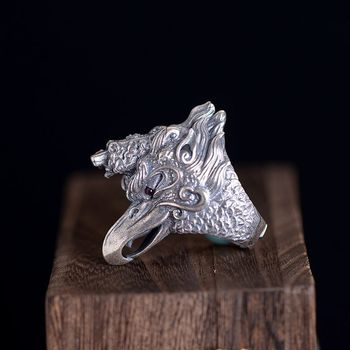 S925 silver process Thai silver male money national wind restoring ancient ways and seas dapeng bird opening ring