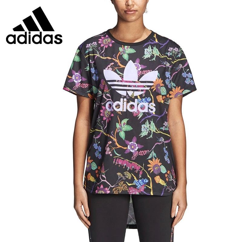 Original New Arrival 2018 Adidas Original Longline Tee Women's T-shirts short sleeve Sportswear skew collar longline striped tee