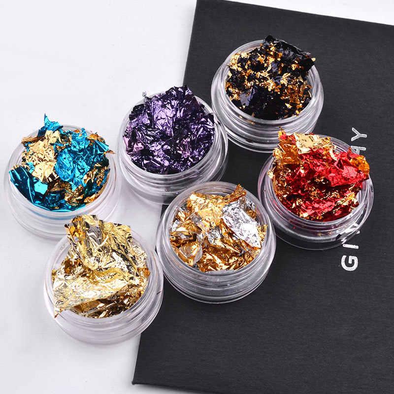 เล็บ Glitter สีสันอลูมิเนียมฟอยล์ 3D Flake สติกเกอร์ UV Gel ฝาครอบเลเซอร์ DIY เครื่องมือตกแต่งเล็บ