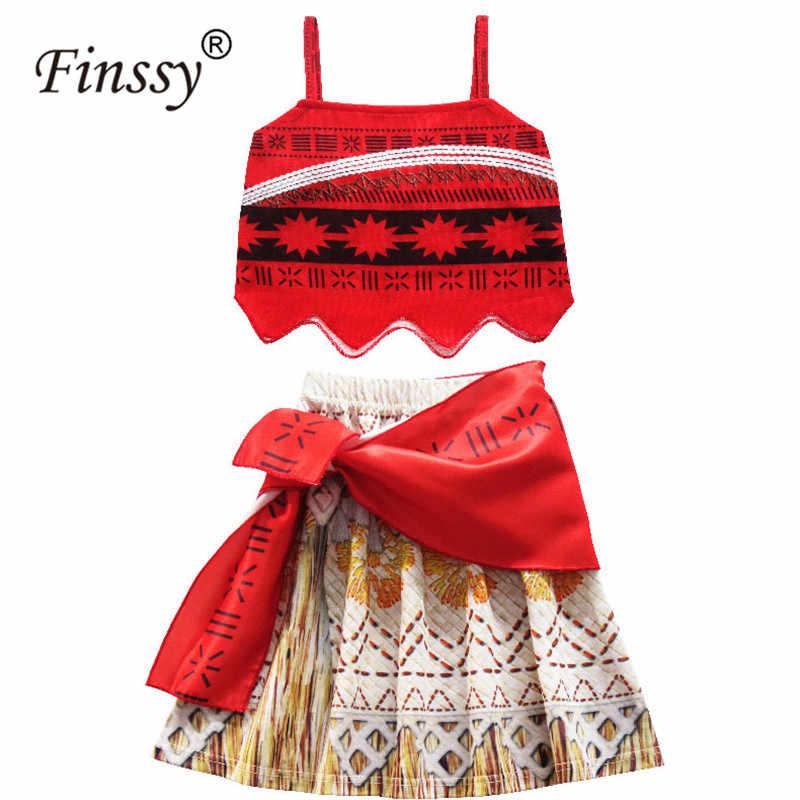 אוקיינוס רומנטיקה Moana חדש קיץ אדום קלע חוף קצר חצאית קוספליי תלבושות גדול מתנת יום הולדת לילדים