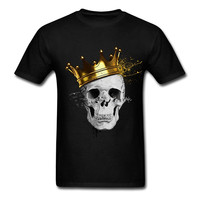Cool Slim Fit Letter Printed Latest Mens T Shirt Royal Skull Customized Graphic Tee Shirts Round
