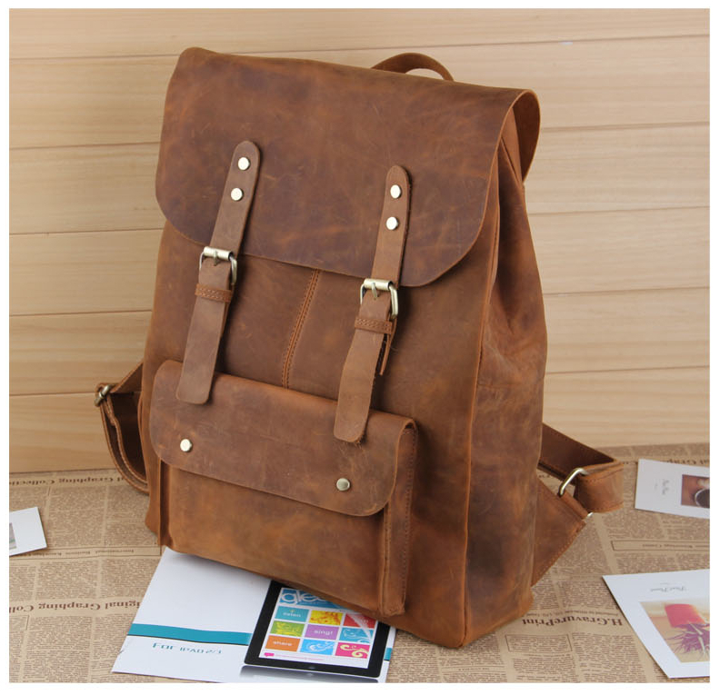 NEWEEKEND 0345 Genuine Leather Cowhide Crazy Horse Retro Yellow Brown Buckle Backpack Travel Bag For Man