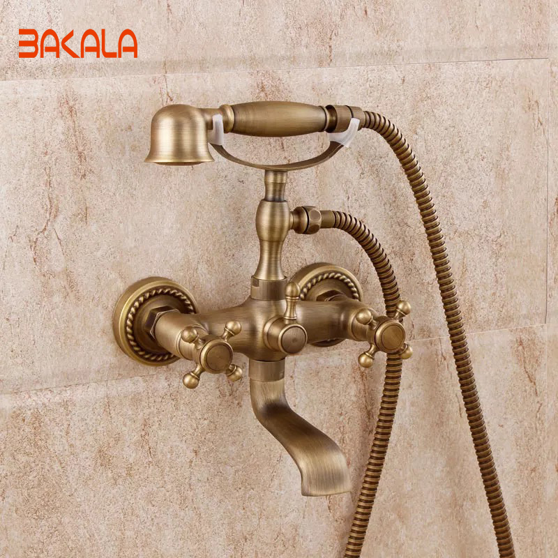 BRONCE FAUCET  Wall Mounted shower faucet Bathroom Bathtub Handheld Shower Tap Mixer Faucet GZ-8305 bathroom handheld shower head faucet mixer tap copper bathtub faucet shower chrome wall mounted waterfall shower faucet set