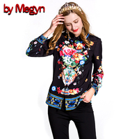 By Megyn 2017 Spring Women Shirts Long Sleeve Floral Print Blusa Female Casual Loose Blouse Fashion
