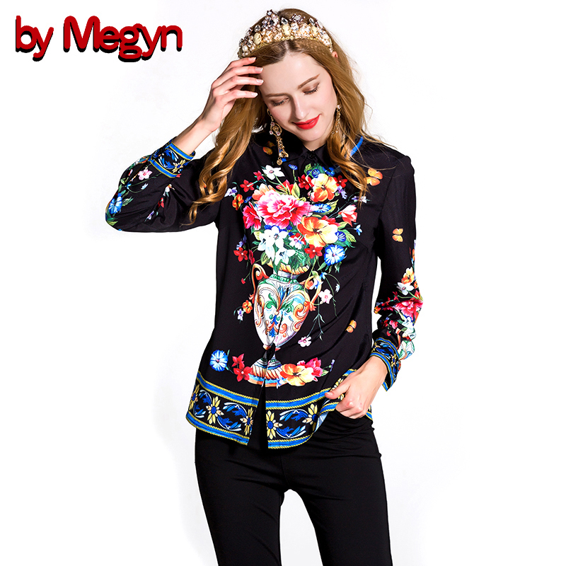 by Megyn 2017 Spring Women Blouses Long Sleeve floral print free shipping fashion Blouses women s