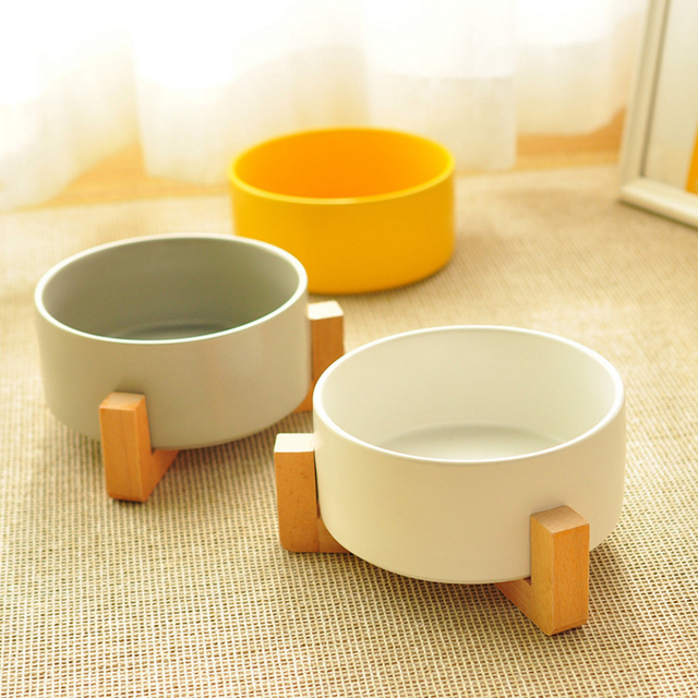 Ceramic Cat Bowl Wooden Frame  2