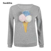 Susi Rita Winter Women Sweatshirt Hoodies Long Sleeve Ice Cream Plush Ball Cute Sweatshirt Casual Ladies