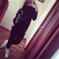 Women clothes Solid O-neck Cotton New 2Pcs Women set Tracksuit Hoodies Sweatshirt Pants Sets Wear Casual Suit #1