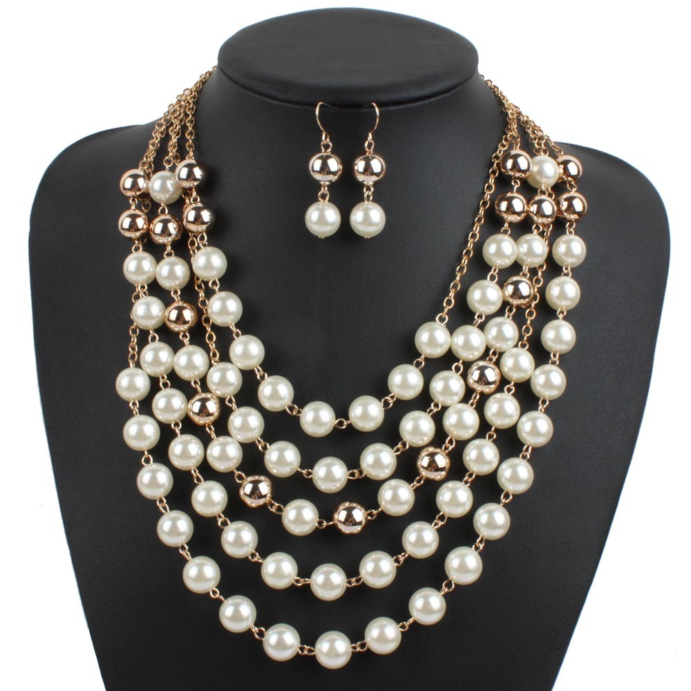 Nachahmung Perlenschmuck Set Weiblichen Halskette Ohrringe Dressing ...