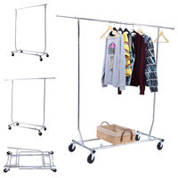 Goplus Heavy Duty Commercial Grade Clothing Garment Hanger Rolling Folding Rack Portable Drying Rack For Clothes
