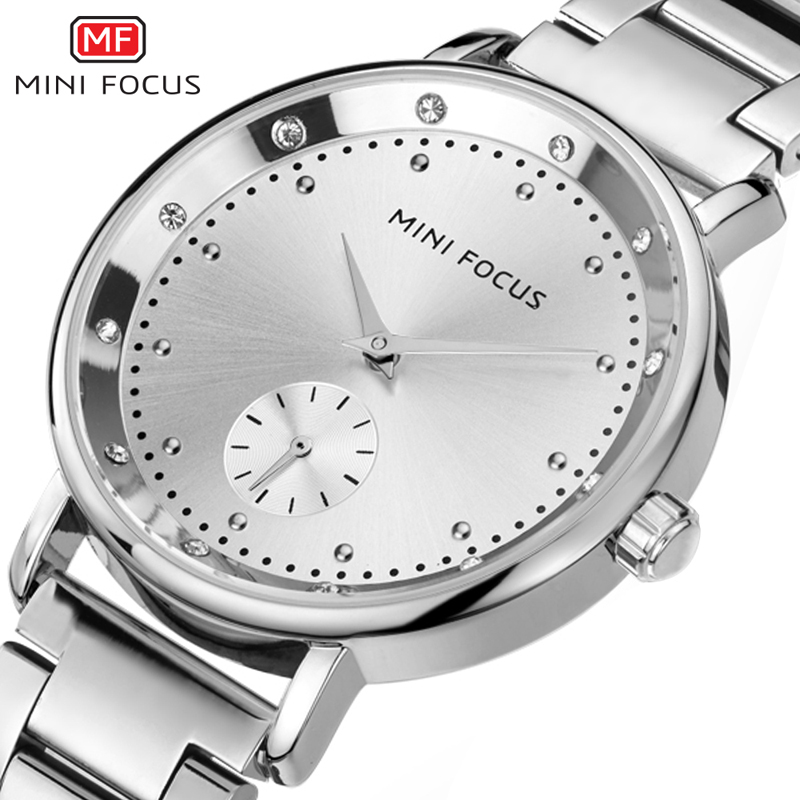 Minifocus Silver Watch Women Rhinestone Bracelet Ladies Watch Diamond Dress Relogios Feminino Dourado Quartz Clock Women Watches matrix total results hello blondie иллюминатор гель уход 125 мл