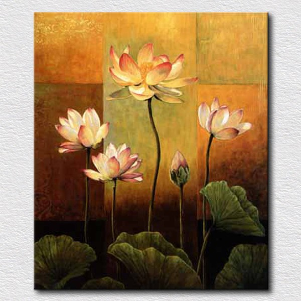 Noble pure lotus flowers canvas painting for bedroom reproduction ...