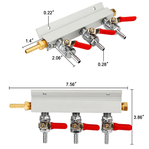 Image 3 - 3 Way CO2 Gas Distribution Block Manifold Splitter With 7mm Hose Barbs Home Brewing Valves Draft Beer Dispense Keg With 4 Clamps