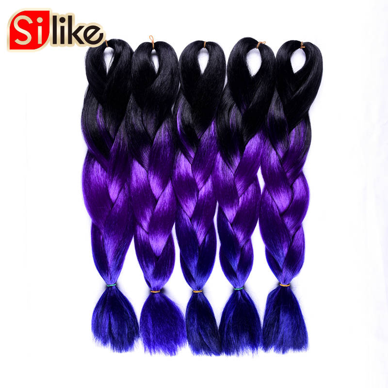 Selfless Silike 48 Inch Opened 10 Pcs/lot Ombre Twist Dark Purple Blue Crochet Jumbo Braiding 100g Hair Synthetic Extensions For Women Jumbo Braids