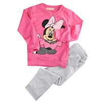 New Fashion Baby Kids Girls Clothing Navy Pink Set Minnie Mouse Dot Long Sleeve Nightwear Pajamas