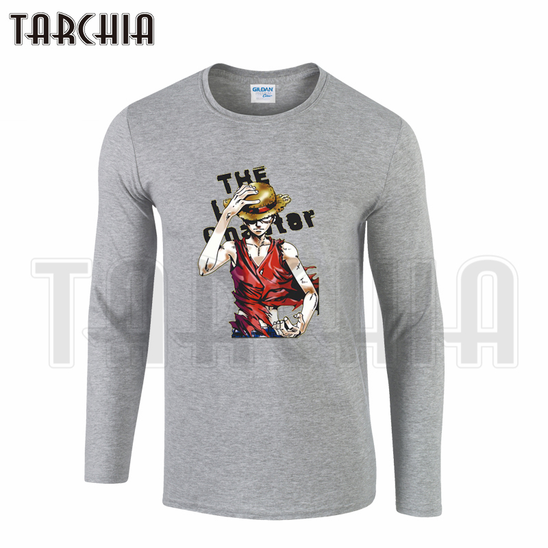 TARCHIA One Piece Monkey D Luffy Trafalgar D Water Law Colorful Men's Long Sleeve Fahion T-Shirt Cotton O-neck  Plus Size